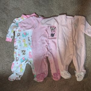 3 Newborn 0-3 Months L/S Footed Pajamas Baby Girl